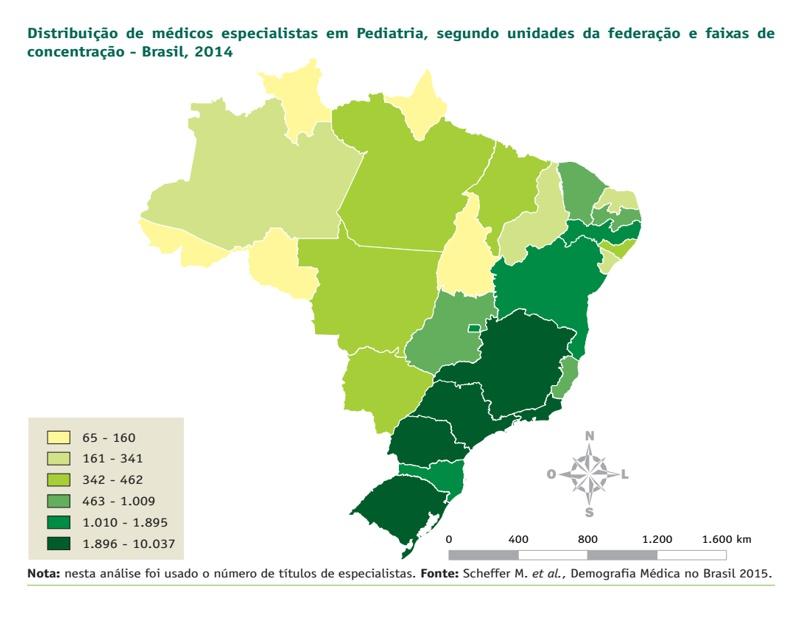 distribuicao de pediatras no brasil