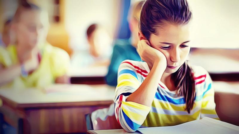 menina com dor de cabeca na escola