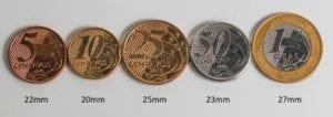 tamanho das moedas brasileiras